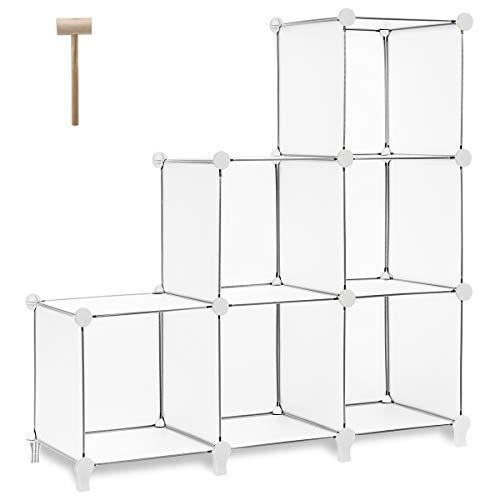 TomCare Cube Storage 6-Cube Bookshelf Closet Organizer Storage Shelves Shelf Cubes Organizer Plastic Square Book Shelf Bookcase DIY Closet Cabinet Organizer Shelving for Home Office Bedroom White