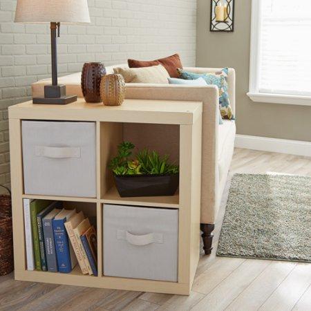 Wood Storage 4 Cube Bookcase Cabinet Versatile Extra Space Four Cubes Bookshelf Cube Unit Multiple Colors Perfect for Living Room Bedroom Home Office BONUS e-book Birch