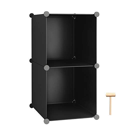 C&AHOME Cube Storage 2-Cube Organizer Units Plastic Closet Storage Shelves DIY Book Shelf Modular Bookcase Cabinet Ideal for Bedroom Living Room Home Office 124 L x 124 W x 248 H Black