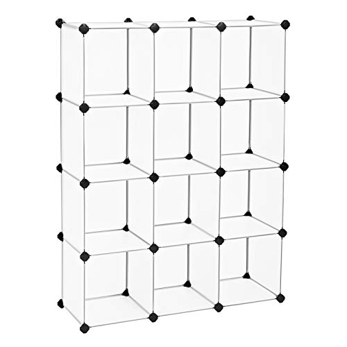 SONGMICS Cube Storage 12-Cube Book Shelf Organizer Units DIY Modular Closet Cabinet Bookcase Ideal for Living Room Closet Includes Rubber Mallet 366 L x 122 W x 484 H Inches White ULPC34L