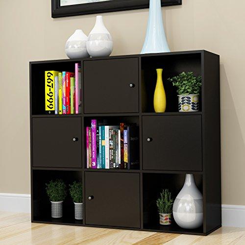 Betwoo Cube Bookcase Cabinet Shelf Storage Organizer Lockers with Doors3 Tier Shelf Black