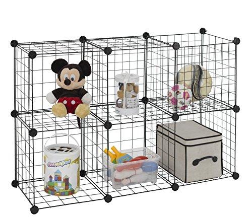 Finnhomy 6 Storage Cubes Multi Use DIY Wire Grid Organizer Closet Organizer Shelf Cabinet Wire Grids Panels Garage Storage Rack Sets Shelving Units for BooksPlantsToysShoesClothes Black