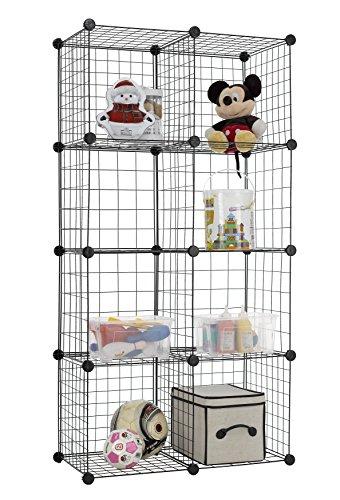 Finnhomy 8 Storage Cubes Multi Use DIY Wire Grid Organizer Closet Organizer Shelf Cabinet Wire Grids Panels Garage Storage Rack Sets Shelving Units for BooksPlantsToysShoesClothes Black