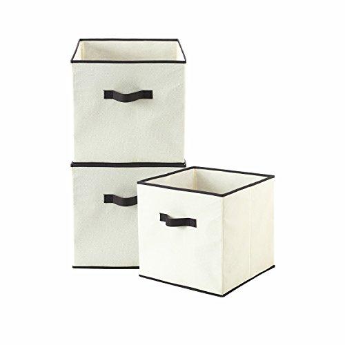 HollyHOME Foldable Storage Cube Bins Fabric Shelf Drawers Closet Organizer with 2 handles  3 PackBeige