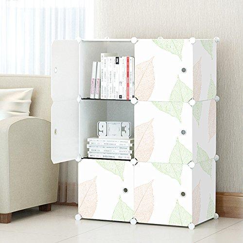 KOUSI 3-tier Storage Cube Closet Organizer Shelf 6-Cube Cabinet Bookcase White