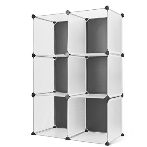 Titan Mall Storage Cabinet 6-Cube Storage Organizer DIY Modular Storage Cubes BookShelf BlackWhite