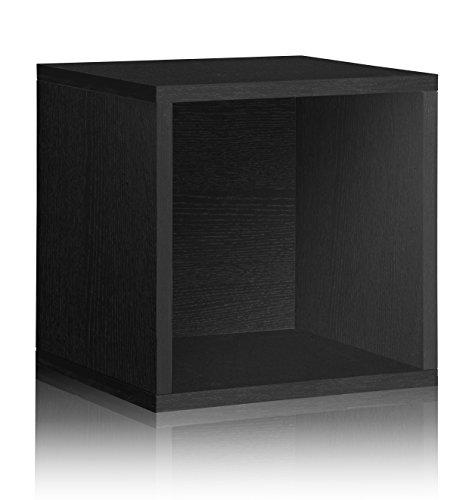 Vinyl Record Storage Cube Extra Large Stackable LP Record Album Shelf Black