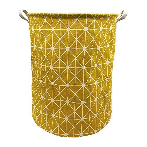 Mziart Collapsible Laundry Basket Hamper Cotton Fabric Nursery Toy Storage Basket for Bedroom Nursery Dorm Closet Yellow Lattice