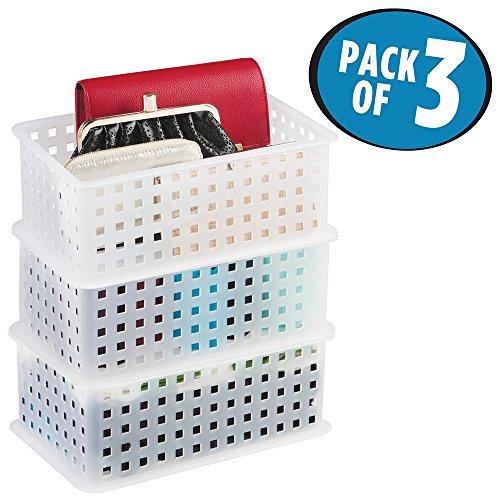 mDesign Closet Storage Organizer Baskets for Scarves Sweaters Clutch Purses Socks Belts - Set of 3 Frost