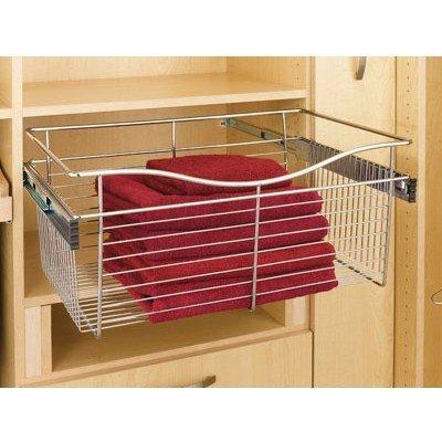 Rev A Shelf Rscb181407Sn5 18 In X 14 In X 7 In Wire Pull-Out Closet Baskets - Satin Nickel