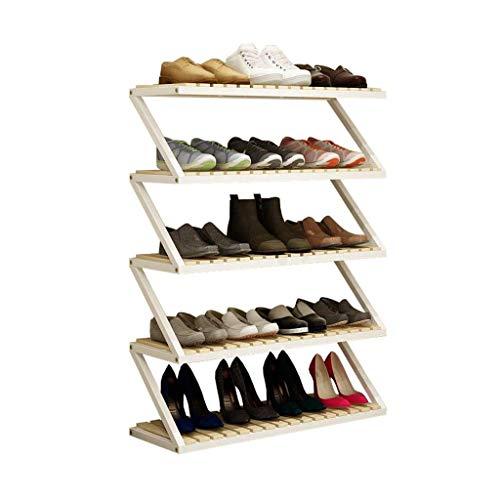 GOHHK Household Wooden Shoe Rack 5 Tier White Storage Shelf Unit Storing Holder Hallway Entrance Versatile