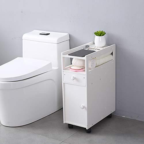 Goujxcy Bathroom Storage Cabinet3-Tier Thin Toilet Vanity Cabinet Narrow Bath Sink Organizer Towel Storage Shelf for Paper Holder White