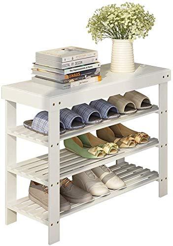 YZjk Shoe Rack Entrance Door Corridor Bamboo 3 Layers White Storage Shelf Bench for Modern Storage Stand Shelf Color  Length 60cm