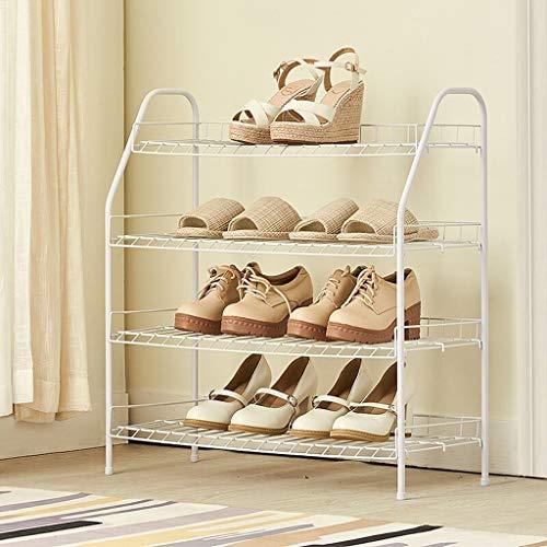 ZfgG 4 Tier Stackable Shoe Rack Organiser White Storage Shelf Metal Entrance Stand for Boots Corner Bedroom Balcony Space Saving Shoe Rack