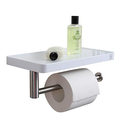 crw Toilet Paper Holder with Phone Shelf 180° Swivel Roll Bar Wall Mounted White Storage Shelf for Bathroom Stainless Steel Hanger