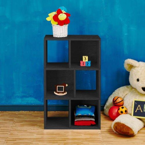 Andrade Eco 3-Shelf 37 Black Cube Unit Bookcase with Open Back Panel