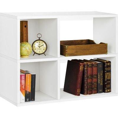 Clara 25 Two Shelf Four Cube Unit Bookcase White