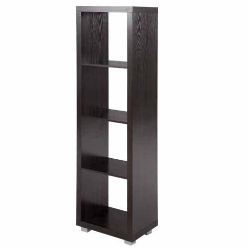 Cube bookcase 4x1 room divider bookcase student desinger modern shelf office shelves storage unit organisation unit black-brown wood veneer Color