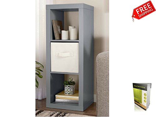 3 Cube Organizer Shelf Horizontal Or Vertical Display Gray Storage Cube Organizer And E-Book By TSR BUY