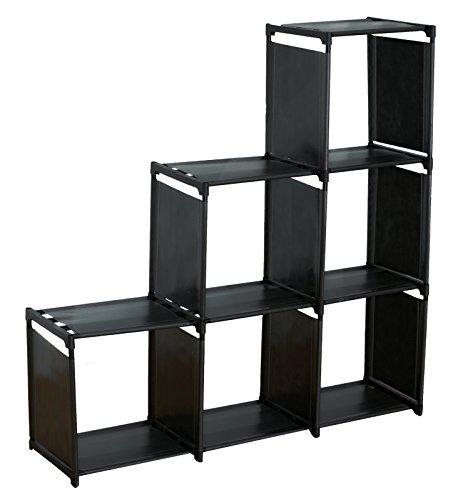 Sodynee 3 Tier Storage Cube Closet Organizer Shelf Cabinet Bookcase 6 Cube Organizer Cabinet Black