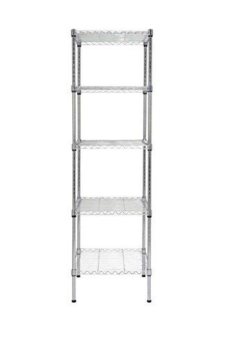 Finnhomy 5 Shelves Adjustable Steel Wire Shelving Rack for Smart Storage in Small Space or Room Corner Metal Heavy Duty Storage Unit Bathroom Storage Tower