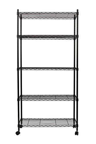 Finnhomy 5 Tier Wire Shelving Unit Adjustable Steel Wire Rack Shelving 5 Shelves Storage Rack with Wheels Stable Leveling Feet Black