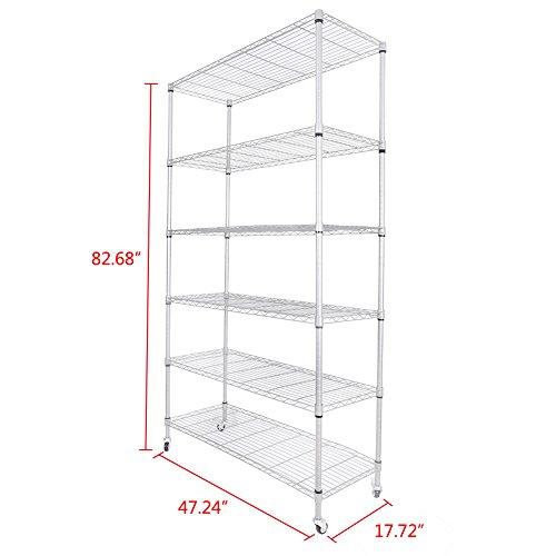 GZYF 82x48x18 6 Tier Layer Shelf Adjustable Wire Metal Shelving Rack Silver