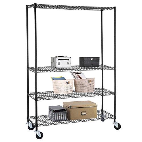 Uenjoy 4 Tier Wire Shelving Rack Adjustable Heavy Duty Steel Shelf Black 46x82x18