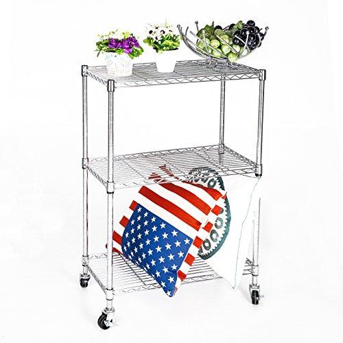 Uenjoy Chrome 3 Tier Wire 32x24x12 Shelving Rack Cart Unit wCasters Shelf Wheels