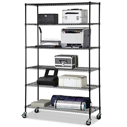 Yaheetech 48 x 18 x 72 Heavy Duty 6 Tier Layer Shelf Adjustable Steel Wire Metal Shelving Rack Black