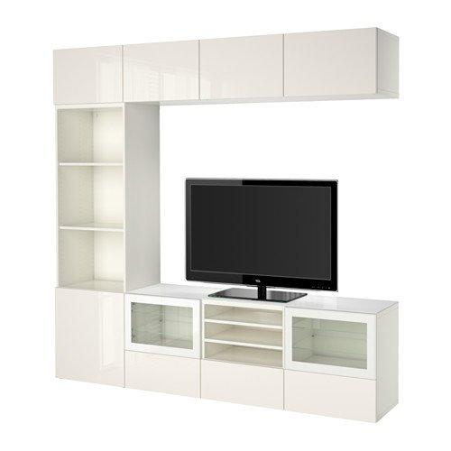 Ikea BESTÃ… TV storage combinationglass doors white Selsviken high glosswhite clear glass 10382292617212