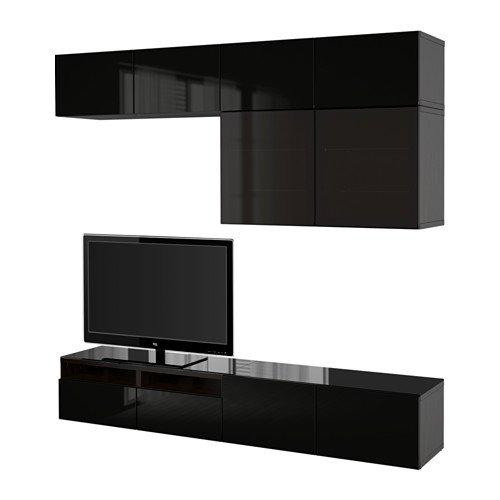 Ikea TV storage combinationglass doors black-brown Selsviken high glossblack clear glass 6382292623418