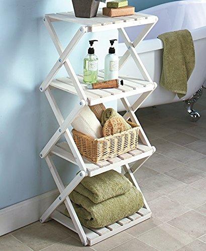 4 Tier Foldable Wood Shelving Storage Organization Shelf Unit white