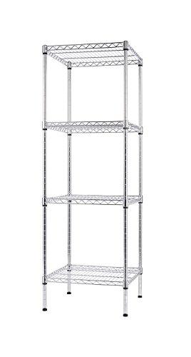 Finnhomy 4 Shelves Adjustable Steel Wire Shelving Rack for Smart Storage in Small Space or Room Corner Metal Heavy Duty Storage Unit Bathroom Storage Tower