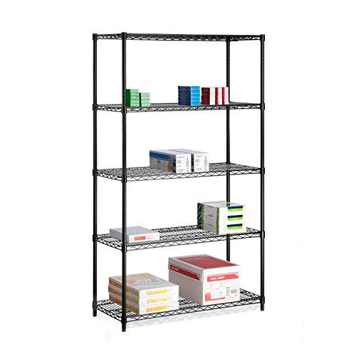 Honey-Can-Do SHF-01440 Adjustable Storage Shelving Unit 800-Pounds Per Shelf Black 5-Tier 42Lx18Wx72H