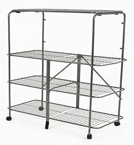Pearington ZEN-B632S-W Folding 4 Tier Multi Purpose Steel Mobile Shelving and Storage Rack 394L x 20W x 50H SilverChrome 4 -Shelf