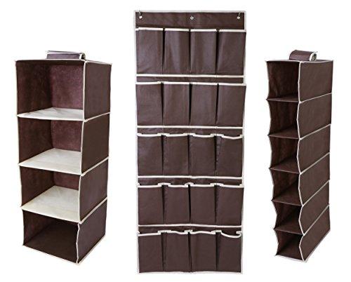Hanging Closet Organizer Set - Includes Hanging 4-Shelf 6-Shelf and 20 Pocket Shoe Storage Set - Space Saving Design for Bedroom Closet Organization - Store Clothes Shoes -3 Piece Set