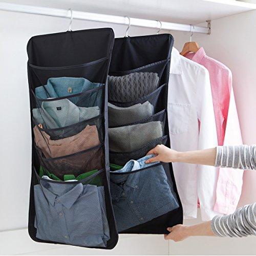 UNIKON 6 Pockets Hanging Closet Dual-sided Organizer Hanging Toiletry Bag Book Shelf Black