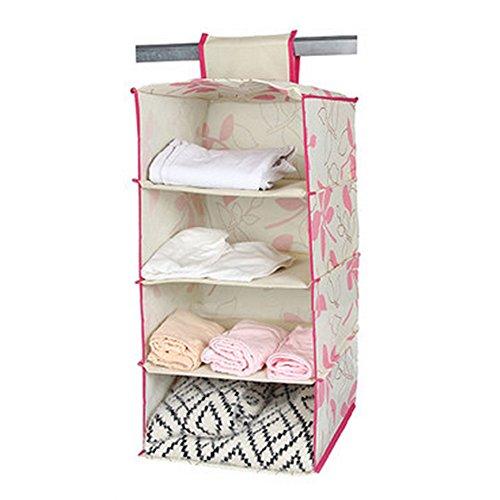 Durable Hanging Clothes Organizer Storage Box Home Decor4 ShelfPinkFlower