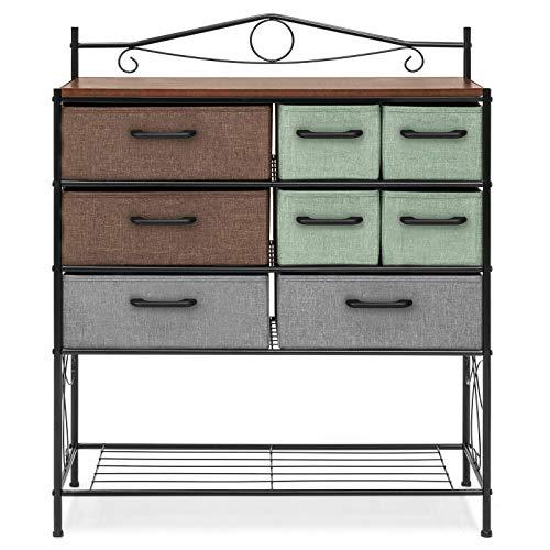 Ecojoin- Wood Metal Storage Cabinet Dresser Chest Cabinet 8 Drawer Living Room Furniture
