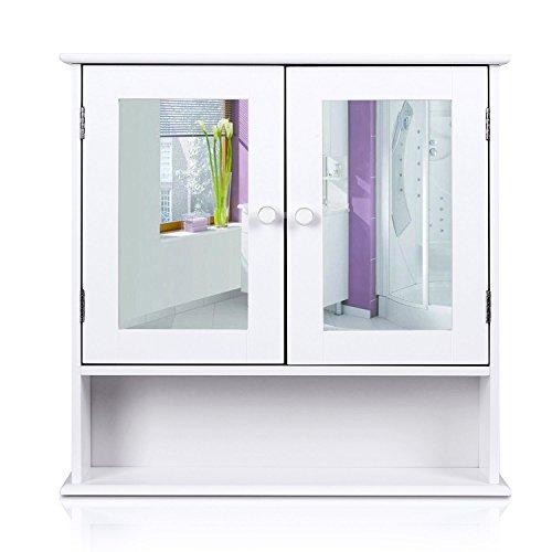 HOMFA Bathroom Wall Cabinet Multipurpose Kitchen Medicine Storage Organizer with Mirror Double Doors ShelvesWhite Finish