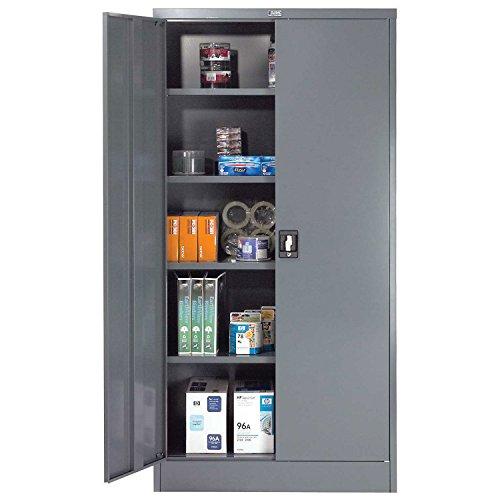 Unassembled Steel Storage Cabinet Recessed Handle 36W x 18D x 72H Gray