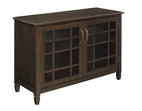 Simpli Home Connaught Low Storage Cabinet Dark Chestnut Brown
