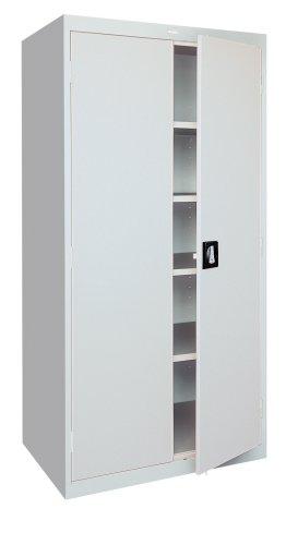 Sandusky EA4R362478-05 36-Inch Wide by 24-Inch Deep by 78-Inch High Welded Industrial Storage Four-Shelf Cabinet Light Grey