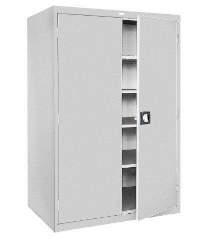 Sandusky EA4R462478-05 46-Inch Wide by 24-Inch Deep by 78-Inch High Welded Industrial Storage Four-Shelf Cabinet Light Grey