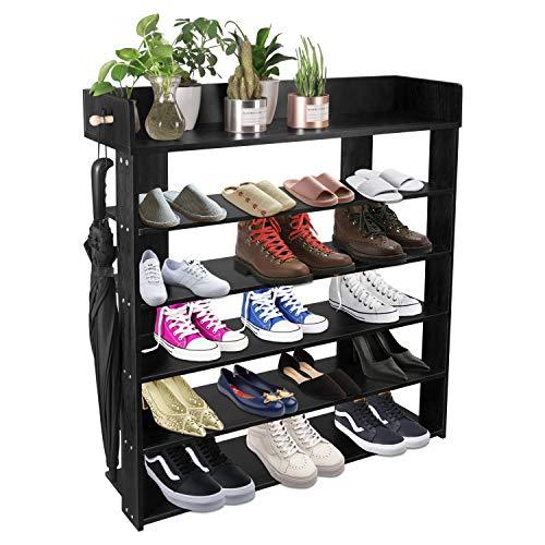 5-Tire Entryway Closet Shoe Rack Shoe Storage Cabinet Shelf Black