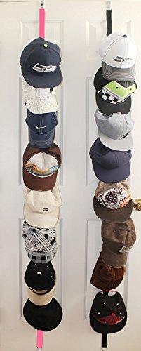 Baseball Cap Rack Storage - Sports Rack With Adjustable Hooks,Gorgeous Stylish 2 x 8  Hat Racks ,16 Baseball Cap Hat Holder Rack Organizer Storage Door Closet Hanger NEW1Pink 1Black