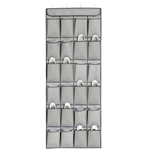 HOMEASY Over the Door Shoe Organizer Closet Storage Durable 24 Pockets Door Wall Hanging Shoe Storage Rack with 4 Metals Hooks For Accessories Storage Gray