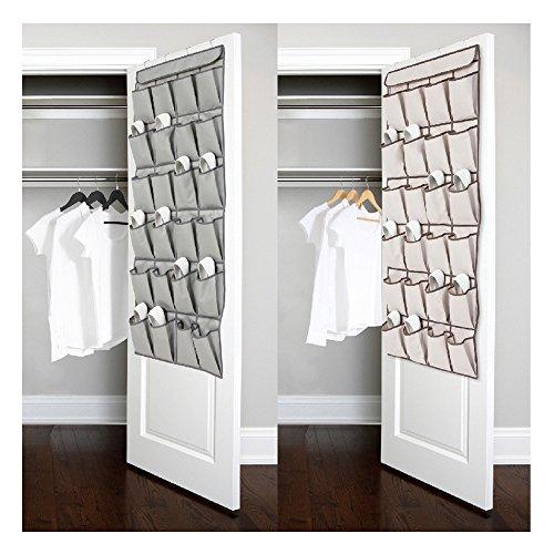 Vanki 1 pc 24 Pockets Over the Door Shoe Organizer Hanging Shoe Storage Bag with 4 Metal HangersGray