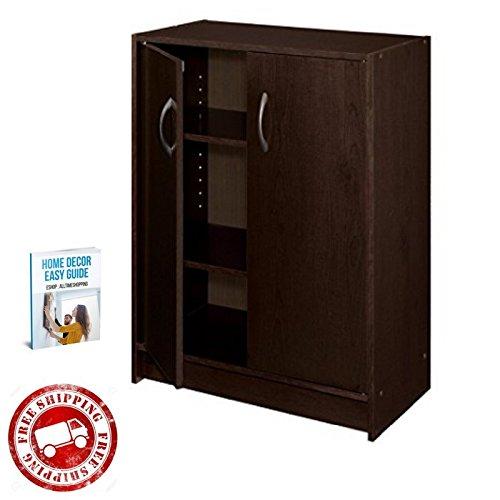 Wooden Storage Cabinet Small Free Standing Home Furniture Kitchen Bathroom Organizer Storage with Doors Shelves Espresso eBook by AllTim3Shopping